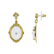 14K Gold-Dipped Frosted Lalique-Inspired Oval Drop Earrings