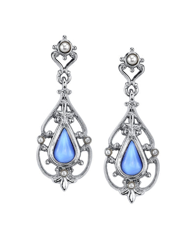 Silver-Tone Filigree and Imitation Blue Moonstone Teardrop Earrings
