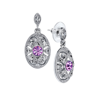 Silver-Tone Light Purple And Crystal Oval Post Earrings