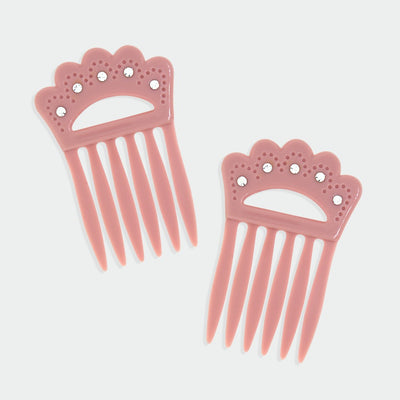 Classic Plastic Double Hair Combs With Clear Crystals