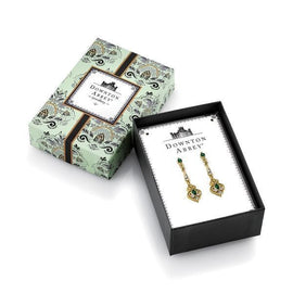 Fashion Jewelry - Downton Abbey Boxed Gold-Tone Green Crystal Linear Earrings