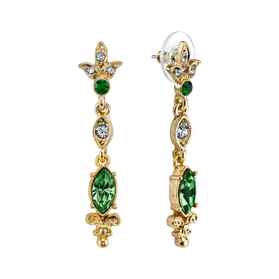 Gold Tone Belle Epoch Navette Shaped Emerald Color Stone Drop Earrings
