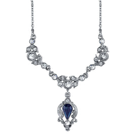 Silver-Tone Blue Color and Crystal Belle Epoch Drop Necklace 16 In Adj