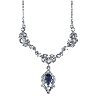 Silver-Tone Blue Color And Crystal Belle Epoch Drop Necklace 16 - 19 Inch Adjustable