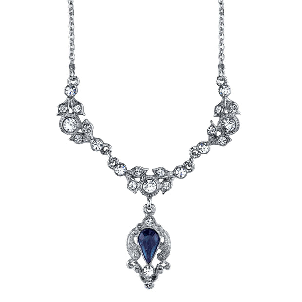 Silver Tone Blue Color And Crystal Belle Epoch Drop Necklace 16   19 Inch Adjustable