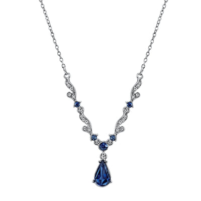 Silver-Tone Blue Crystal French Scroll Linked Necklace