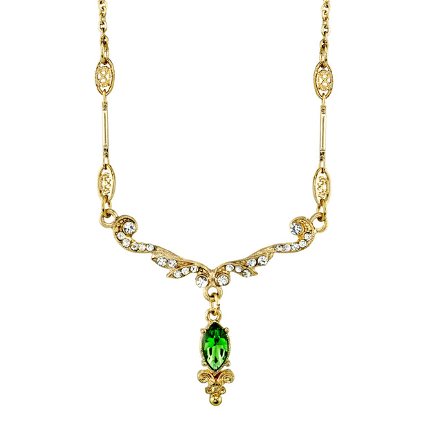 Downton Abbey Gold Tone Crystal Belle Epoch Emerald Color Navette Drop Necklace 16 - 19 Inch Adjustable