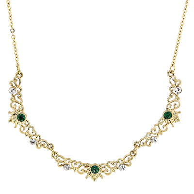 Gold Tone Filigree Scallop Emerald Color Crystal Necklace