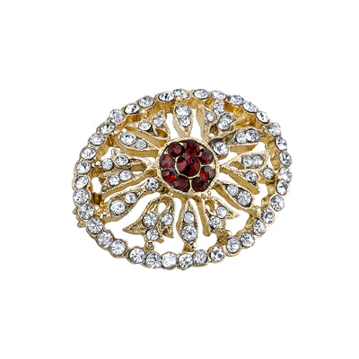 Gold Tone Crystal Edwardian Pave Oval Pin With Red Center Stones