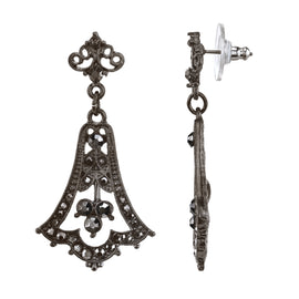 Black-Tone Belle Epoch with Pave Hematite Color Stones Chandelier Earrings