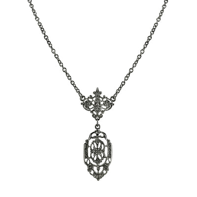 Black-Tone Belle Epoch Filigree Drop Pendant Necklace 16 In Adj