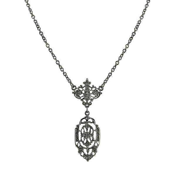 Black-Tone Belle Epoch Filigree Drop Pendant Necklace 16 - 19 Inch Adjustable