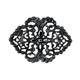 Black-Tone Belle Epoch Swirl Filigree with Pave Hematite Color Stones Bar Pin