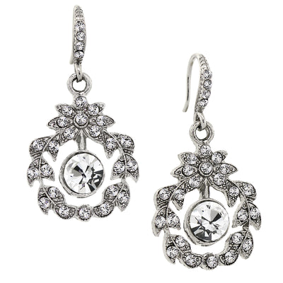 Silver Tone Belle Epoch Wreath With Pave Crystal Accents Dangle Earrings