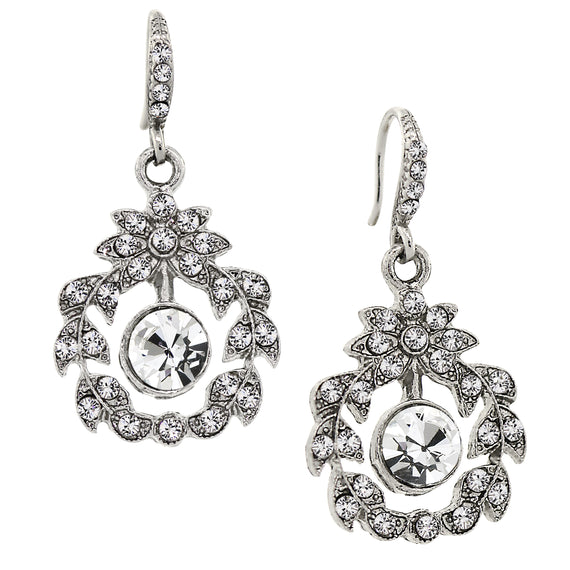 Silver-Tone Belle Epoch Wreath with Pave Crystal Accents Dangle Earrings