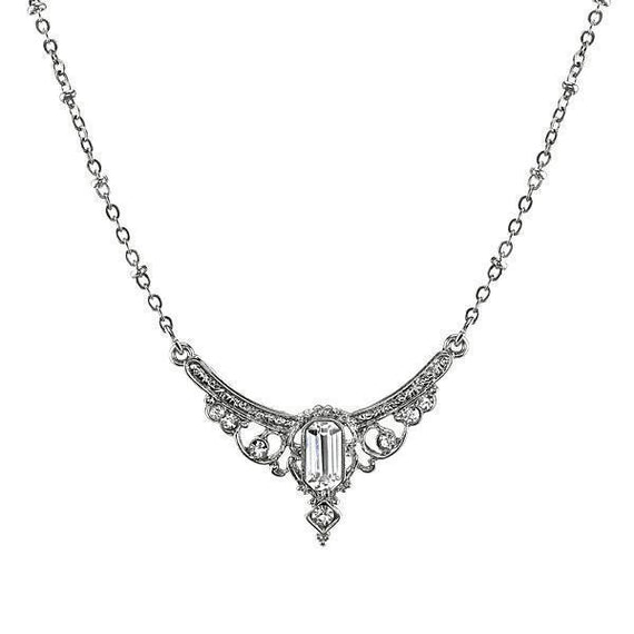Silver-Tone Crystal Edwardian Statement Collar Necklace