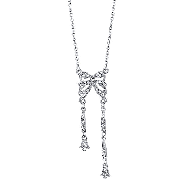 Silver-Tone Crystal Edwardian Statement Bow Necklace 16 In Adj