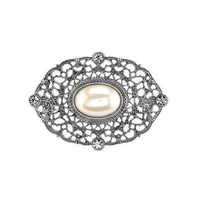 Silver-Tone Crystal Belle Epoch Filigree With Large Costume Pearl Bar Pin