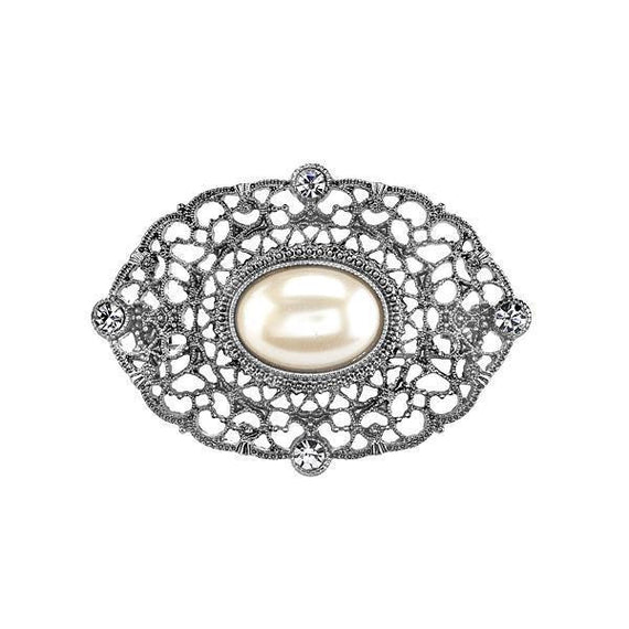 Fashion Jewelry - Downton Abbey Boxed Silver-Tone Filigree and Simulated Pearl Brooch
