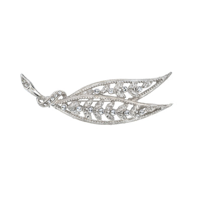 Silver-Tone Large Edwardian Filigree Leaf With Pave Crystal Accents Bar Pin