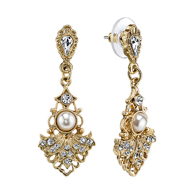 Gold Tone  Crystal  Fan With Costume Pearl Center Drop Earrings