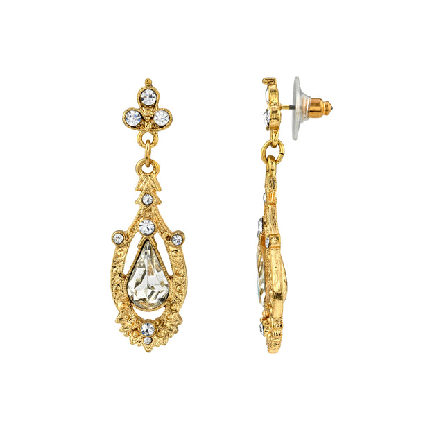Gold Tone Crystal Edwardian Pear Shaped Center Drop Earrings