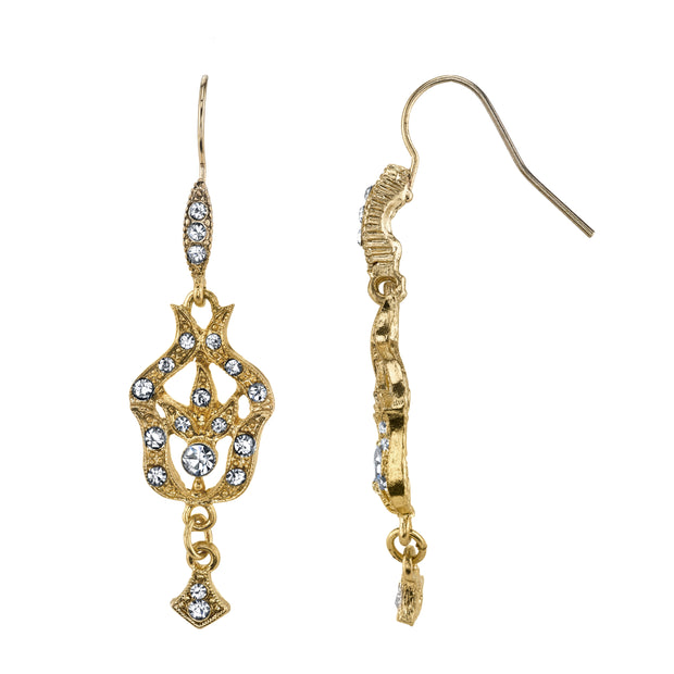 Gold Tone  Belle Epoch Pave Fleur With Crystal Accents Drop Earrings