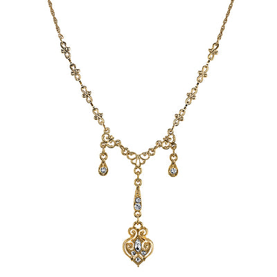 Gold Tone Edwardian Triple Drop with Elaborate Center Y-Necklace