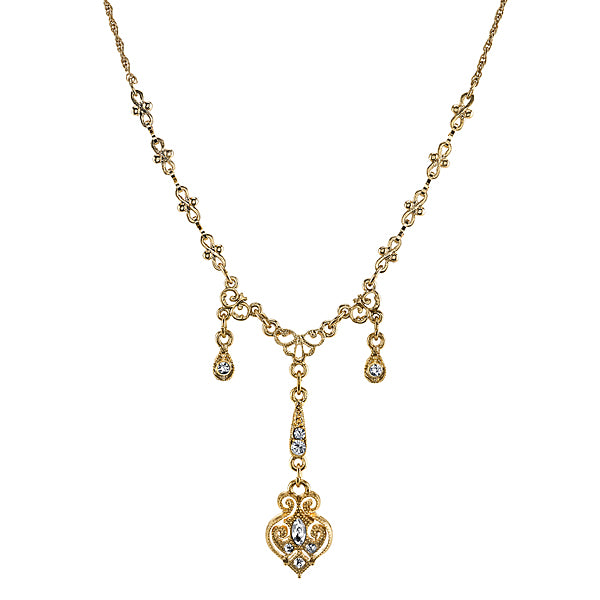 Gold Tone Edwardian Triple Drop With Elaborate Center Y-Necklace 16 - 19 Inch Adjustable