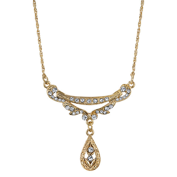 Gold Tone Crystal Edwardian Swag Shaped Collar Necklace 16 In Adj