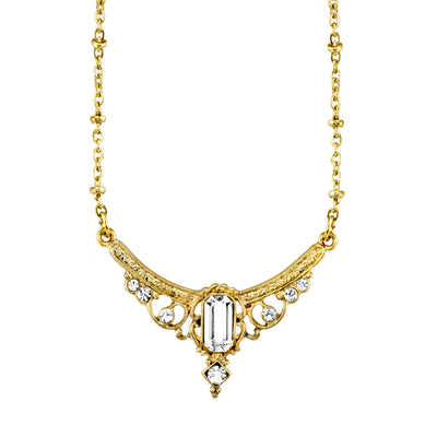 Gold Tone Edwardian with Crystal Baguette Center Collar Necklace