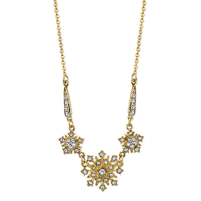 Gold Tone Crystal Belle Epoch Starburst Statement Necklace 16 In Adj