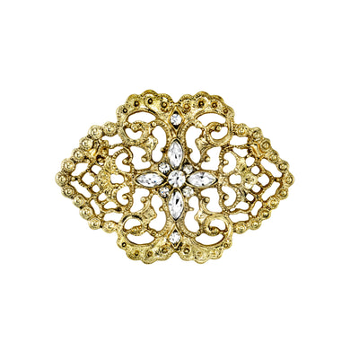 Gold Tone Belle Epoch Filigree with Pave Crystal Stone Cluster Bar Pin