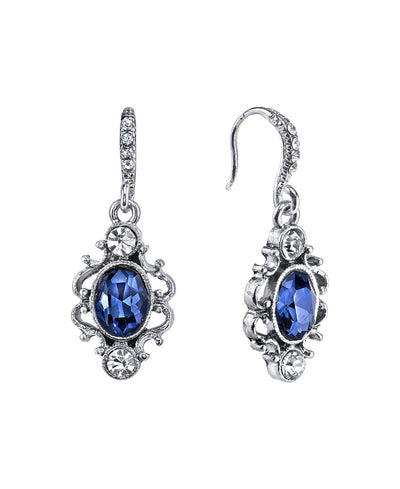 Downton Abbey Classic Crystal Oval Stone Drop Earrings