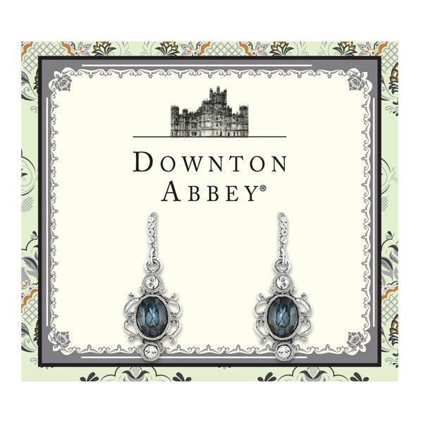 Silver Tone Blue Crystal Oval Drop Earrings 1