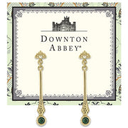 Gold Tone Emerald Color Crystal Earrings With Crystal Post Top Linear Drop
