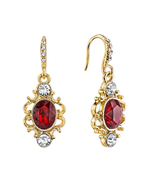 Gold Tone Red Oval with Crystal Pave and French Scroll Filigree Drop Earrings