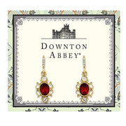 Downton Abbey Gold Tone Red Oval With Crystal Pave And French Scroll Filigree Drop Earrings