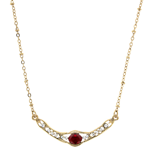 Gold Tone Edwardian with Red Center Stone Collar Necklace 16 In Adj
