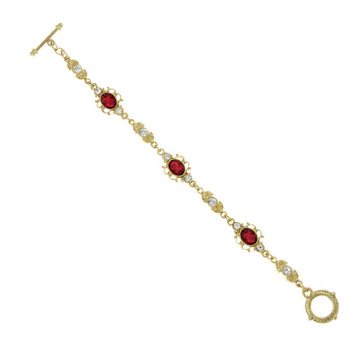 Gold Tone Red and Clear Crystals Link Toggle Bracelet