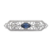 Silver Tone Crystal And Blue Navette Center Stone Edwardian Filigree Bar Pin