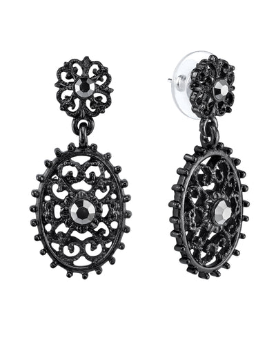 Black Tone Filigree Oval With Aesthetic Beaded Edge Detail Dangle Earrings