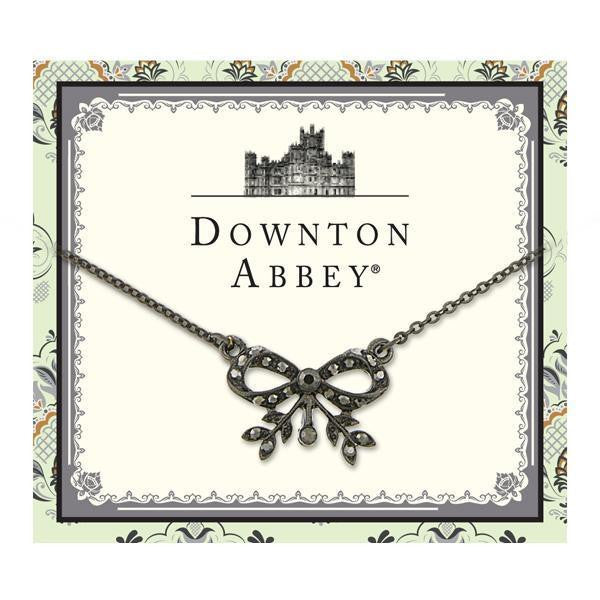 Downton Abbey Black-Tone Hematite Color Crystal Bow Necklace