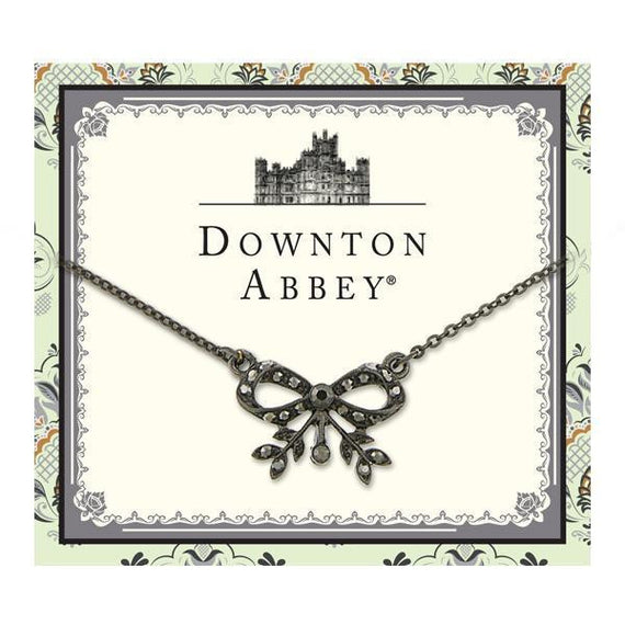 Fashion Jewelry - Downton Abbey Black-Tone Hematite Color Crystal Bow Necklace