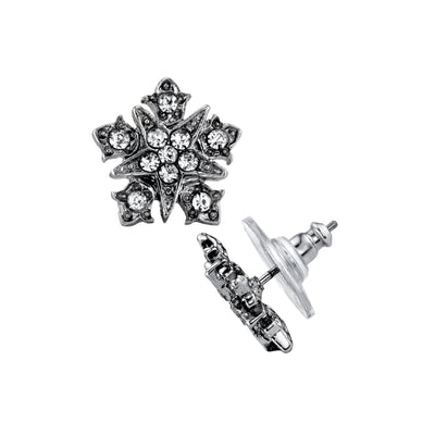 Silver-Tone Belle Epoch Starburst Button with Crystal Accents Post Earrings