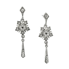 Silver-Tone Crystal Belle Epoch Starburst with Tassel Drop Dangle Earrings