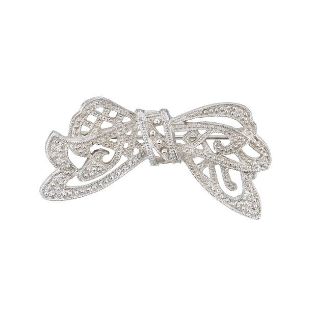 Silver-Tone Crystal Edwardian Bow Bar Pin
