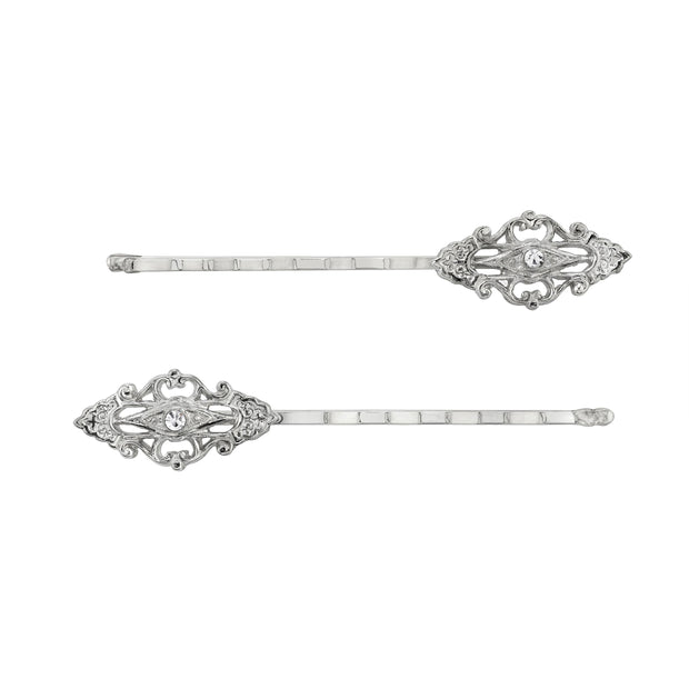 Silver Tone Classic Edwardian  Stick Pin  Hair Jewelry Bobby Pins Set