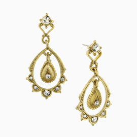 Downton Abbey Gold-Tone Crystal Scallop Drop Earrings