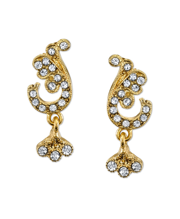 Gold Tone Crystal Pave French Scroll Leaf Post Earrings